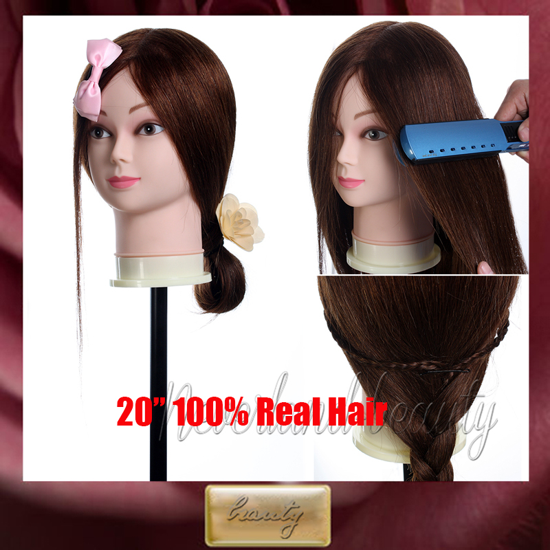 Real Human Or Synthetic Hair Training Head / Massage Mannequin Head Manikin Doll