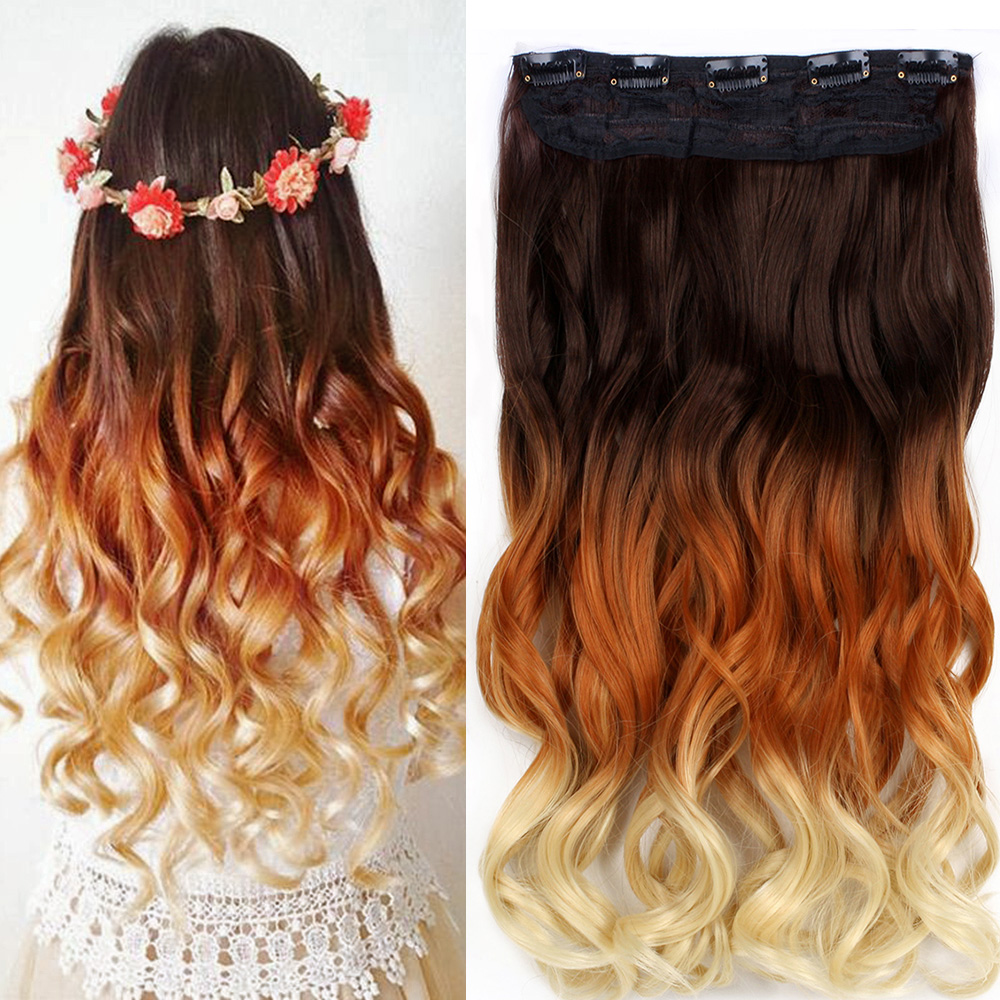 34 Full Head Clip In Hair Extensions Real Thick Ombre Dip Dye One