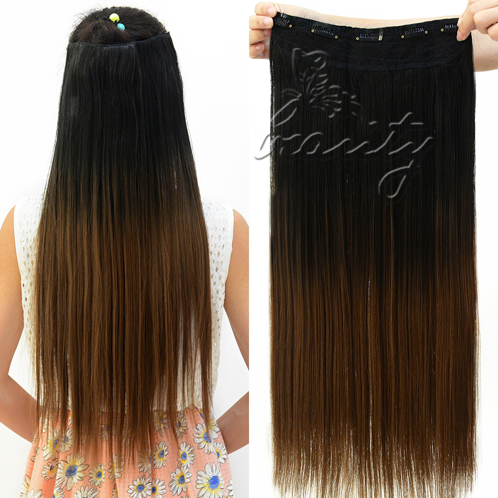 One Piece Clip In Hair Extensions Dip Dye 48