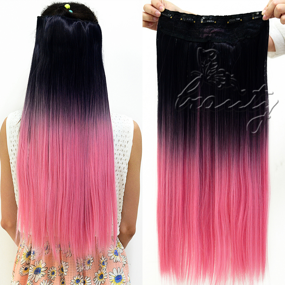 One Piece Clip In Hair Extensions Dip Dye 74