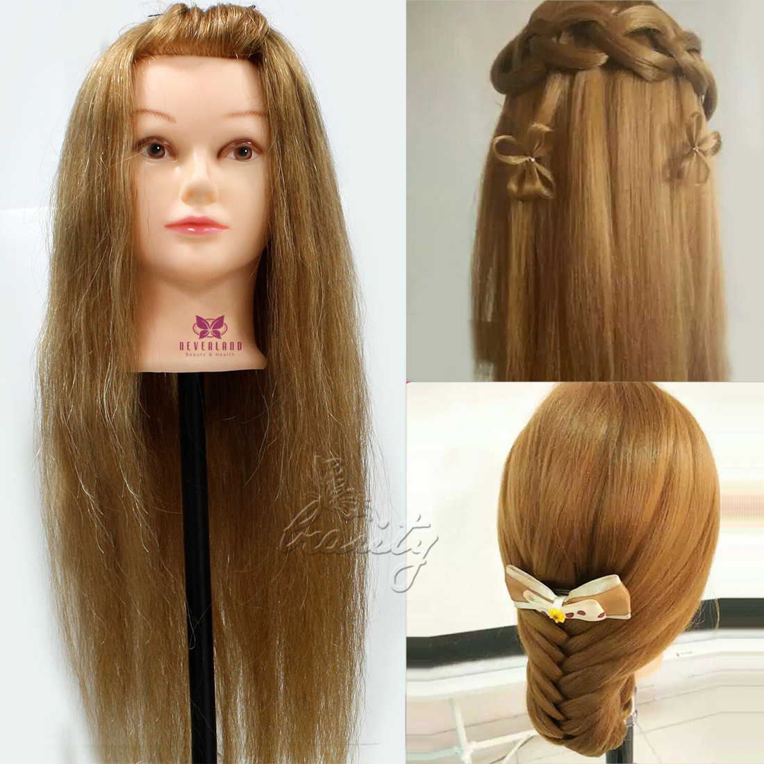 Hair Style Training : ... REAL HUMAN HAIR MANNEQUIN TRAINING HEAD NEW STYLE + Free Clamp eBay