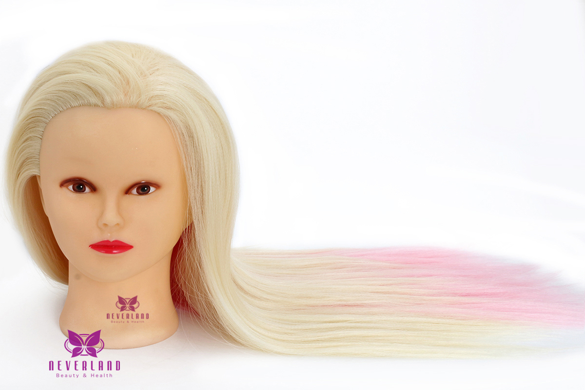"Hair Styling Mannequin Head: 24"" Colorful Synthetic Hair Training Practice Head"