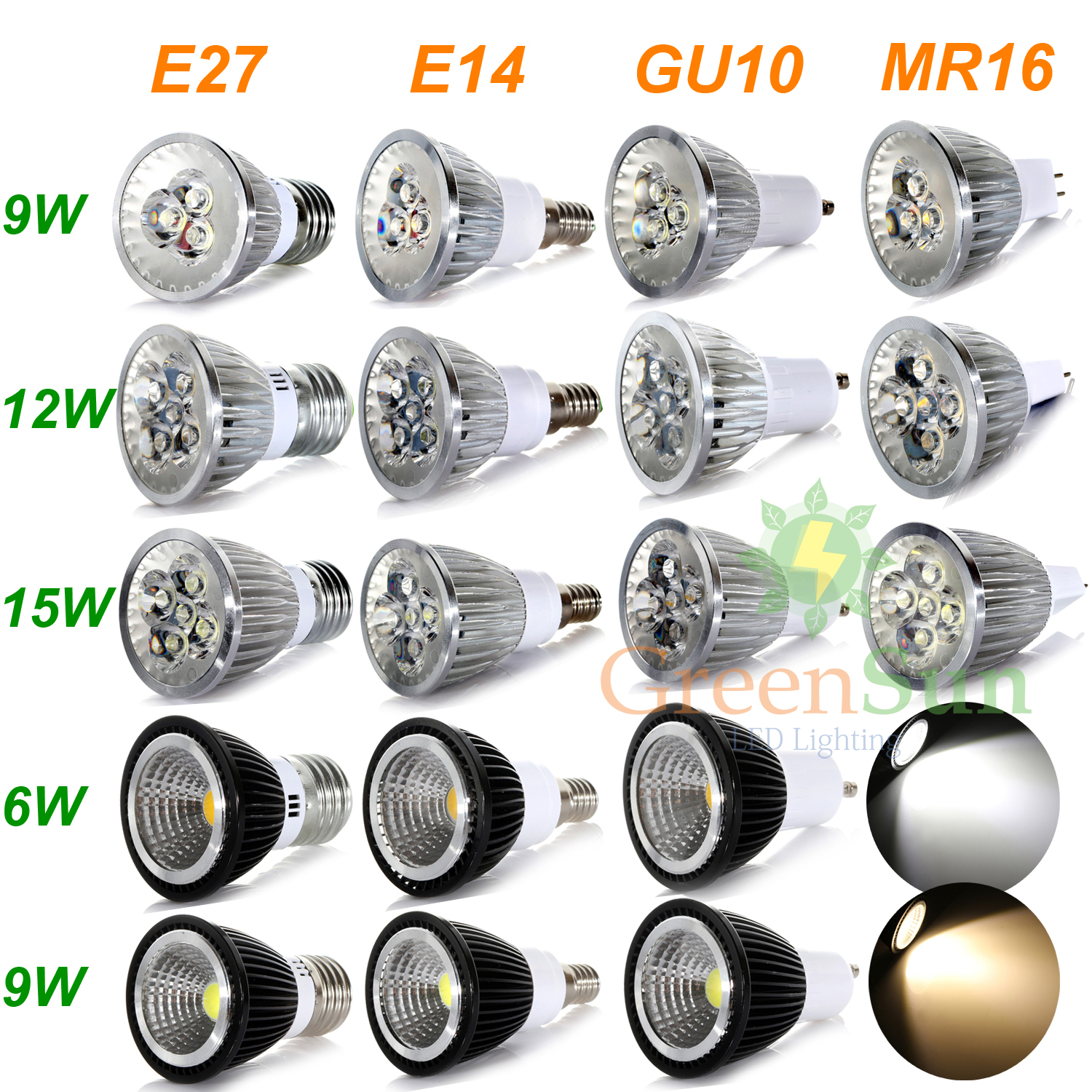 4/10x MR16/GU10/E27/E14 6W 9W 12W 15W COB LED Spotlight Spot Light Lamp Bulb UK  eBay
