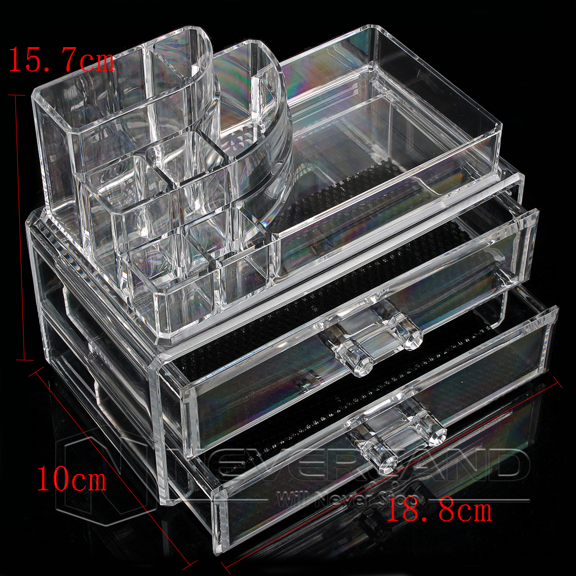 acryl kosmetik organizer mit schublade aufbewahrung make up ordnungsst nder ebay. Black Bedroom Furniture Sets. Home Design Ideas