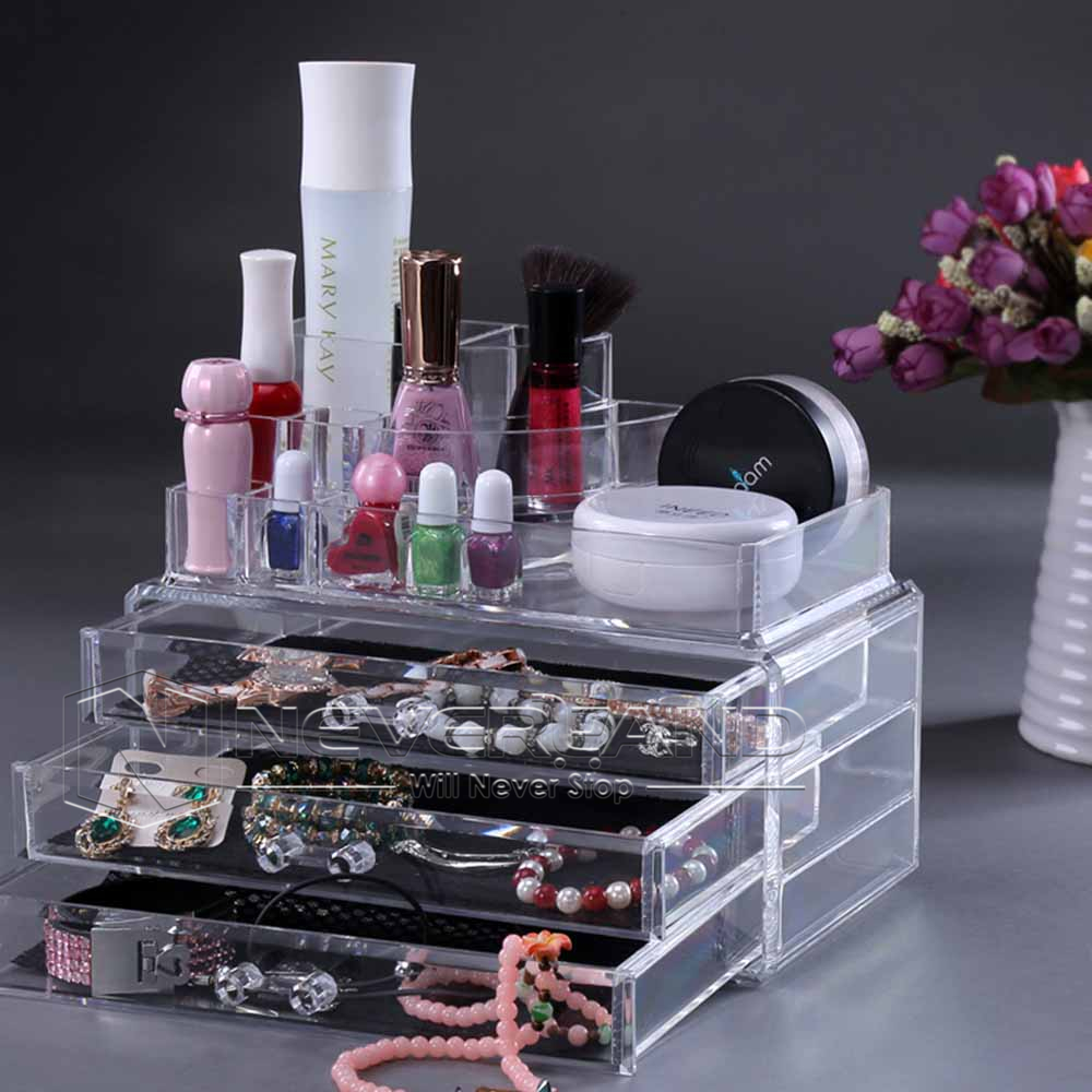 Acrylic Clear Makeup Box Cosmetic Organiser Drawers Holder