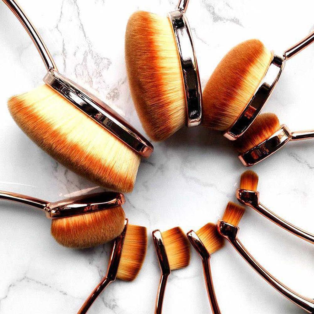 10stk profi pinselset make up zahnb rste foundation oval pinsel kosmetik brush ebay. Black Bedroom Furniture Sets. Home Design Ideas