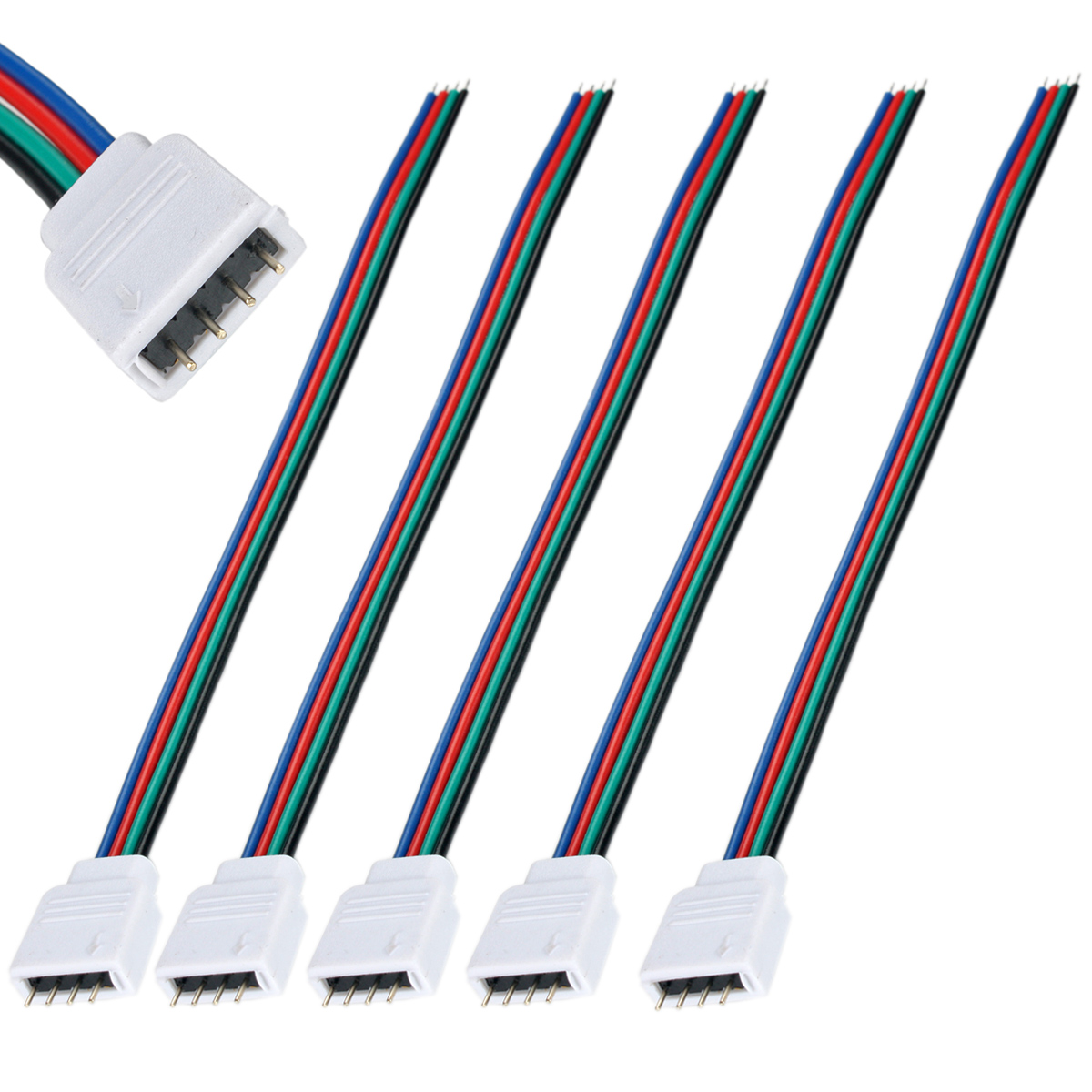 5 10pcs Rgb Led Strip Light Wire Connector Adapter Cable Clip Pcb Connectors Wiring For Single Color 5050 Smd Ebay 10mm Wide Compatible