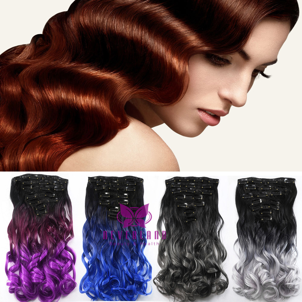 2024 Full Head Clip In Ombre Hair Extensions 7 Pieces 16 Clips