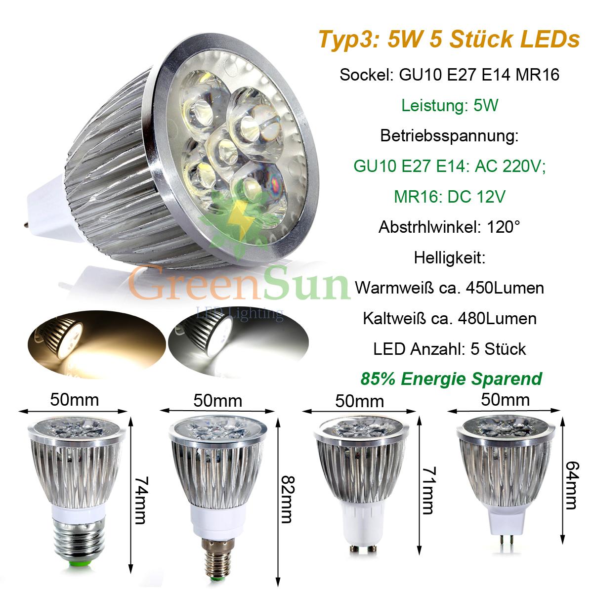 3w 5w led e14 gu10 e27 spot strahler warmwei kaltwei sparlampe leuchtmittel ebay. Black Bedroom Furniture Sets. Home Design Ideas