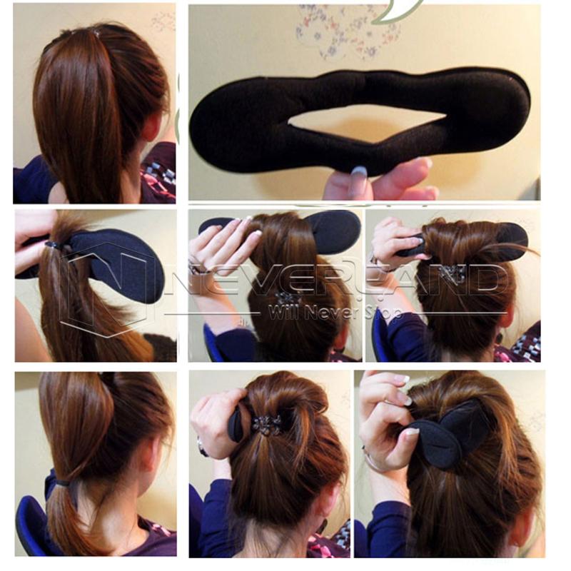 Sponge Plate Large Ponytail Tie Back Black Hair Stick Band Bun